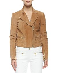 MICHAEL Michael Kors Quilted Panel Suede Moto Jacket - Lyst