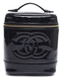 Chanel Pre-Owned Black Patent Leather Vertical Cosmetic Case - Lyst