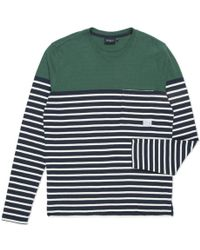 Paul Smith Navy And White Stripe Textured Long-Sleeve T-Shirt - Lyst