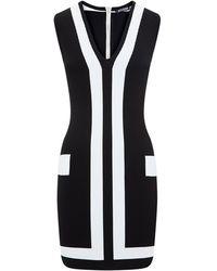 Balmain Two-Tone Stretch Knit Mini Dress - Lyst