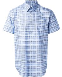 Calvin Klein Blue Checked Shirt - Lyst