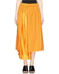 Acne Studios 'Kaba Se' Silk Panel Cotton Poplin Flare Skirt yellow - Lyst