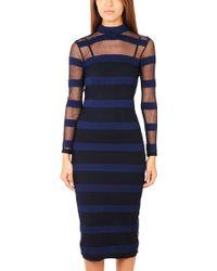 Charlotte Ronson Stripe Mesh Long Dress - Lyst