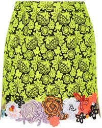 Christopher Kane Neon Guipure Lace and Cady Mini Skirt - Lyst