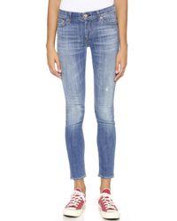 7 For All Mankind Skinny Jeans Bright Light Broken Twill - Lyst