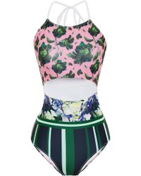 Clover Canyon Floral Collage Cut Out Swimsuit - Lyst