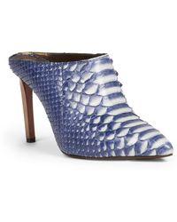 Lanvin Python Point-Toe Mules blue - Lyst