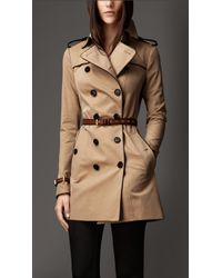 Burberry Mid-Length Leather Trim Trench Coat - Lyst
