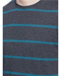 Isaia   Stripe Intarsia Cotton T-shirt   Lyst