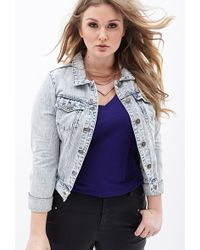 Forever 21 Mineral Wash Denim Jacket - Lyst