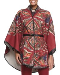 Etro Leather Belted Paisley Poncho - Lyst