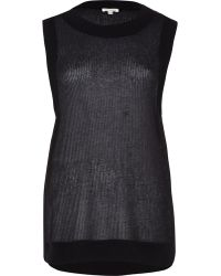 River Island Black Open Weave Loose Fit Knitted Top - Lyst