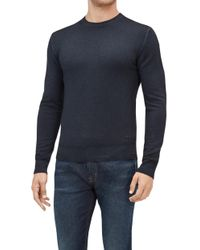 7 For All Mankind - Crew Neck Knit Wool Abrasions Ink Blue - Lyst