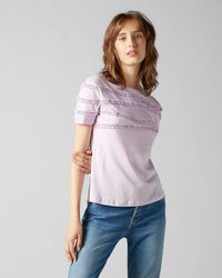 7 For All Mankind Short Sleeve Tee Jersey Lilac Frilly Ruffled - Purple