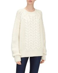 7 For All Mankind - Chunky Cable Knit Jumper Wool Ecru - Lyst