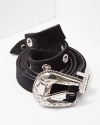 7 For All Mankind - B-low The Belt Baby Frank Velvet Belt In Black And Silver - Lyst