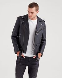 7 For All Mankind - Leather Biker Jacket In Black - Lyst