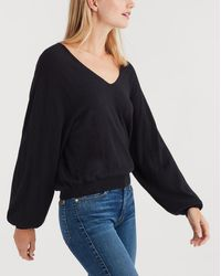 7 For All Mankind - Curved Neck Crop Sweater In Black - Lyst