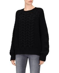 7 For All Mankind - Chunky Cable Knit Jumper Wool Black - Lyst