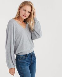 7 For All Mankind - Curved Neck Crop Sweater In Heather Grey - Lyst