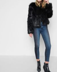7 For All Mankind - Faux Fur Coat In Black - Lyst