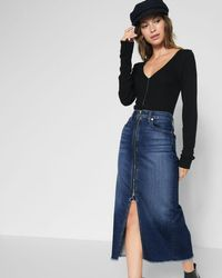 7 For All Mankind - Long Zip Front Skirt In Nightfall - Lyst