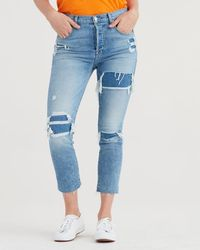 7 For All Mankind - High Waist Josefina With Destroyed Patchwork - Lyst