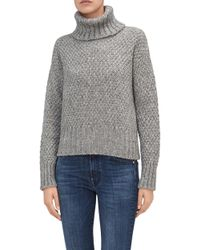 7 For All Mankind - Turtle Neck Sweater Mixed Fabrics Grey - Lyst