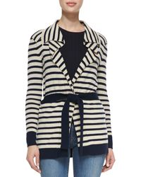 Tory Burch Vaile Striped Cashmere Cardigan - Lyst