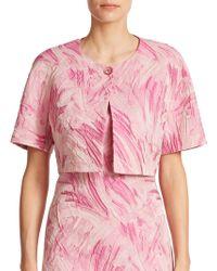 Kay Unger Printed Cropped Jacquard Jacket pink - Lyst