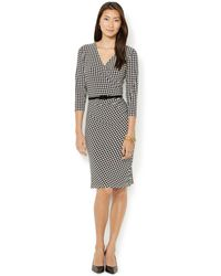 Lauren by Ralph Lauren Petite Belted Houndstooth-print Dress - Lyst