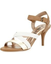 Lanvin Lowheel Strappy Leather Sandal Beige - Lyst