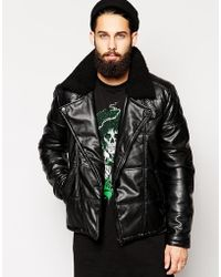 Asos Quilted Leather Look A-symmetrical Biker - Lyst