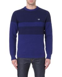 Fred Perry Logoembroidered Piqué Knit Jumper Medieval - Lyst