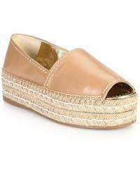 Prada Platform Open-Toe Leather Espadrilles beige - Lyst