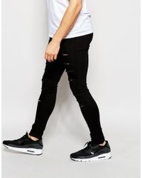 WÅVEN - Jeans Exclusive To Asos Extreme Super Skinny Fit Mid Rise Clean Black Extreme Rips - Lyst