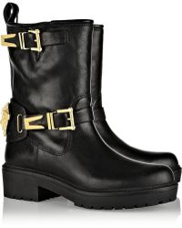 Versace Leather Biker Boots - Lyst