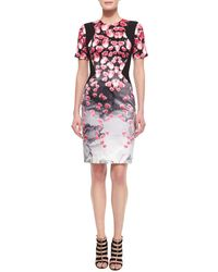 Prabal Gurung Tulip-Print Stretch-Silk Dress pink - Lyst