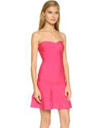 Hervé Léger Arlene Dress - Bright Pink pink - Lyst