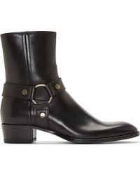 Saint Laurent Black Leather Wyatt Biker Boots - Lyst
