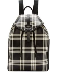 Alexander McQueen Black and White Leather Check Backpack - Lyst