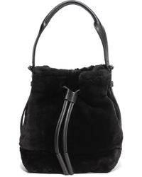 Opening Ceremony - Mini Izzy Leather-trimmed Shearling Backpack - Lyst
