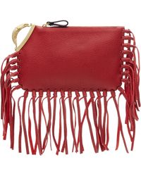 Valentino Scarab Fringed Leather Clutch - Lyst