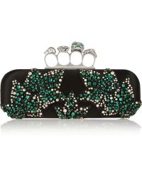 Alexander McQueen Knuckle Swarovski Crystal-Embellished Satin Box Clutch - Lyst