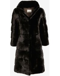 Yves Salomon Exclusive High Collar Mink Coat Black - Lyst