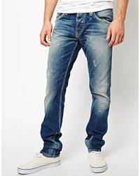Pepe Jeans - Coleville Straight Fit Mid Distress Wash - Lyst