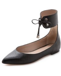 Zimmermann Tie Up Ballerina Flats Black - Lyst