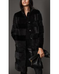 Burberry Shearling And Fur Striped Coat - Lyst