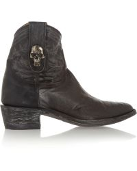 Mexicana Tete De Mort Distressed Leather Ankle Boots - Lyst