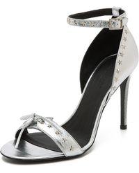 Rodarte Glitter Heel Star Stud Sandals  Silver - Lyst